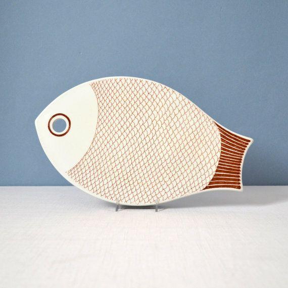 Vintage Kaarina Aho Fish Trivet / Tray for Arabia of Finland
