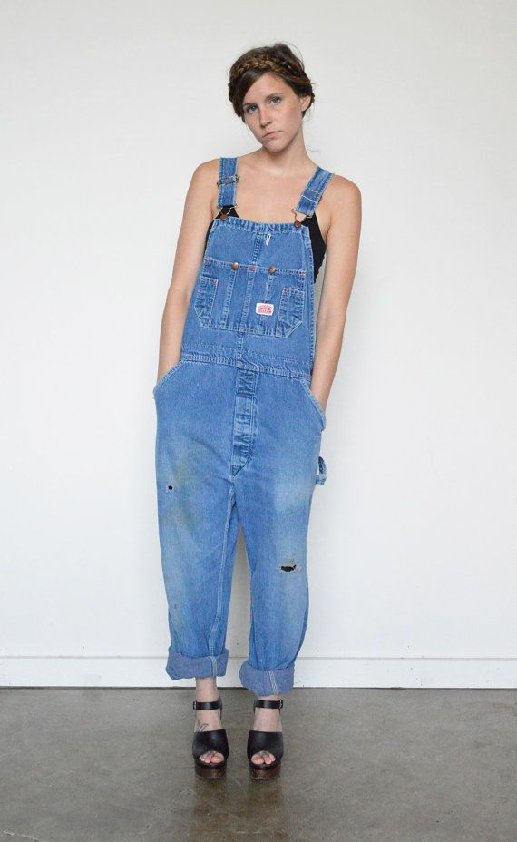 Vintage painters overalls / round house / distressed cotton denim / adjustable straps / pockets / straight leg / not pinned on model  material: 100%