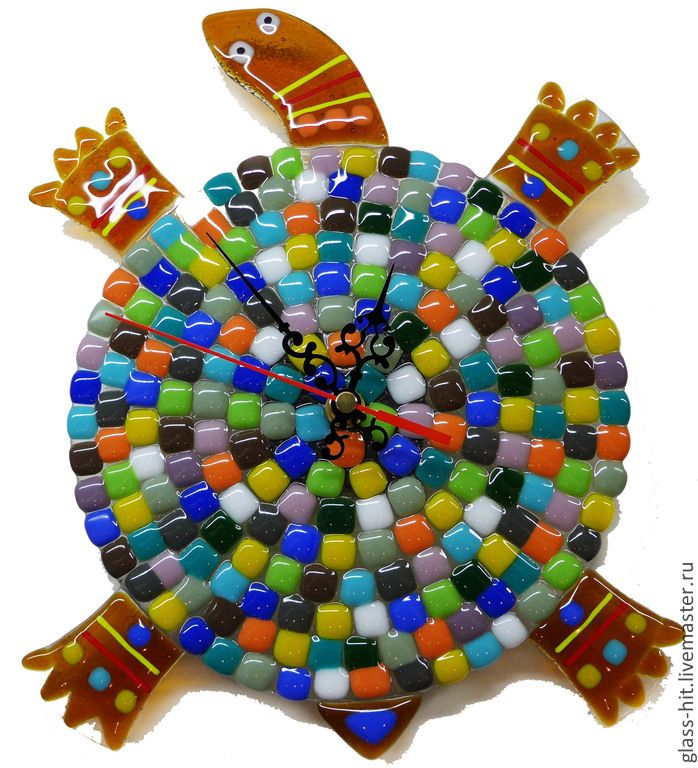 """Купить Часы """"Черепашка"""". Стекло. Фьюзинг. - разноцветный, стекло, Фьюзинг, часы настенные, часы интерьерные"""