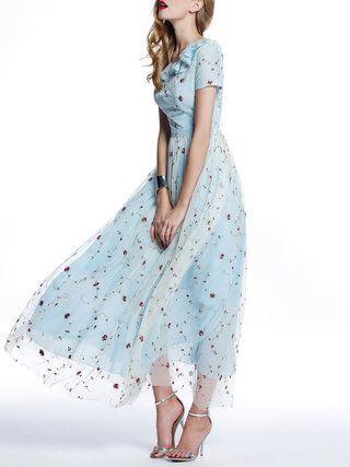 Light Blue Boho Paneled Floral Polyester Maxi Dress