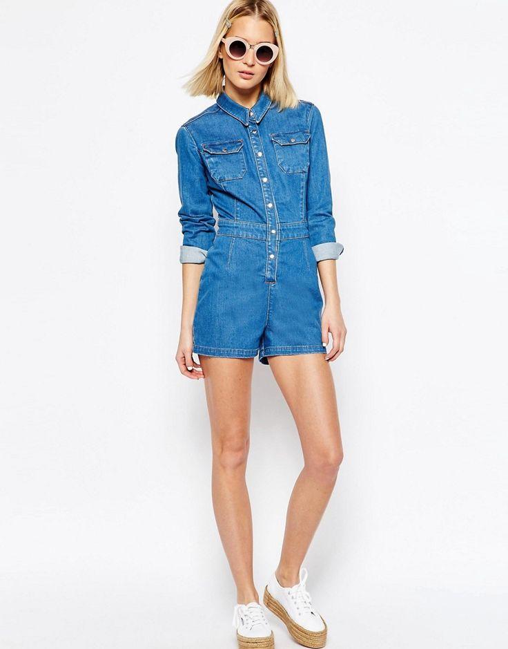 Immagine 4 di ASOS Denim - Tuta corta di jeans aderente stile western blu medio slavato