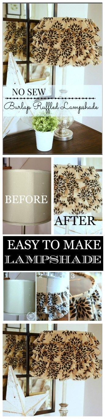 Attractive NO SEW BURLAP RUFFLED LAMPSHADE Home Design Ideas
