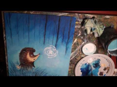 Видео мастер-класс: пишем акрилом картину «Ежик в тумане» - Ярмарка Мастеров - ручная работа, handmade