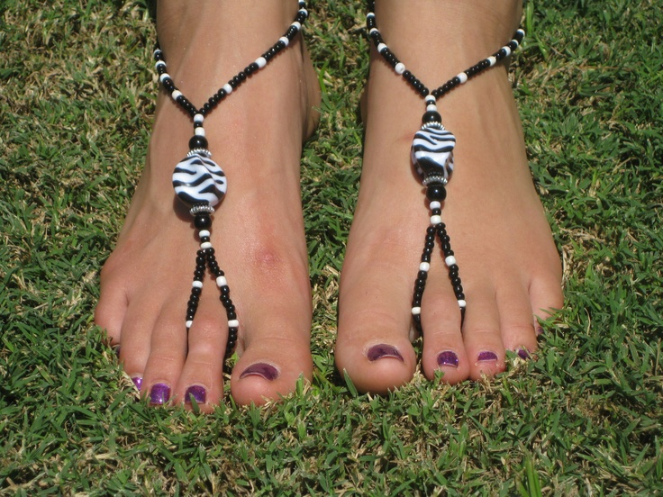 Zebra Barefoot Sandals, Slave Anklet, foot jewelry, ankle bracelet with toe ring. $12.00, via Etsy.