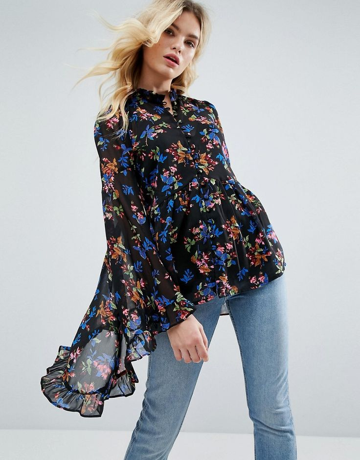 Get this Asos's kimono now! Click for more details. Worldwide shipping. ASOS Kimono Sleeve Blouse In Chiffon In Dark Floral - Multi: Blouse by ASOS Collection, Lightweight chiffon, Floral print, High neck, Button placket, Oversized kimono sleeves, Regular fit - true to size, Machine wash, 100% Polyester, Our model wears a UK 8/EU 36/US 4 and is 173cm/5'8 tall. Score a wardrobe win no matter the dress code with our ASOS Collection own-label collection. From polished prom to the after party…