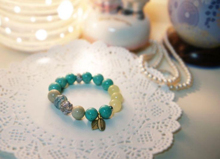 Handmade  Stretch Bracelet Turquoise gemstone with tassel #Handmade #Beaded#mint#gemstone#bracelet