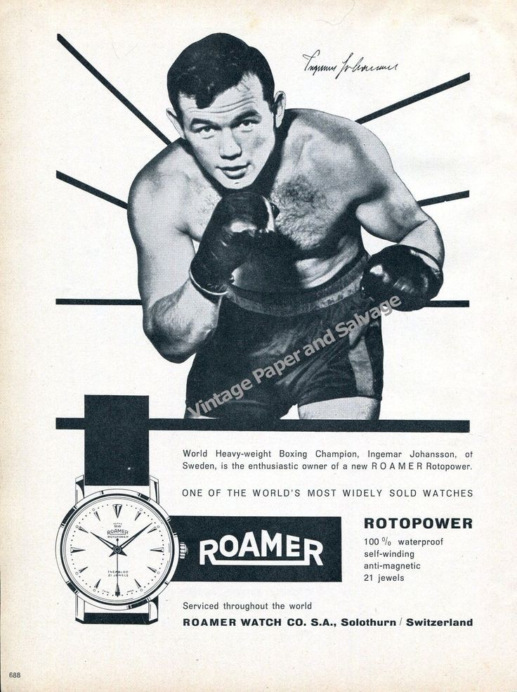 1959 Ingemar Johansson World Heavyweight Boxing Champion Roamer Watch Co Advert