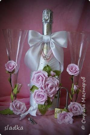 Декор предметов Свадьба Аппликация Моделирование конструирование Свадебный набор Нежность Фоамиран фом фото 1
