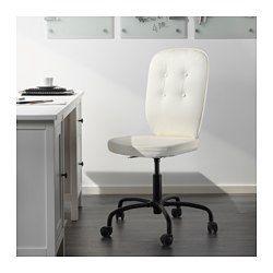IKEA - LILLHÖJDEN, Otočná židle, Blekinge bílá,  , , Díky nastavitelné výšce židle můžete sedět pohodlně.Kolečka jsou pokrytá gumou, a tak se hladce posouvají po jakémkoli typu podlahy.Látka je snímatelná a pratelná, a tak se snadno udržuje čistá.