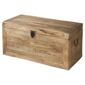 "Reclaimed wood storage chest with a natural finish.  Product: ChestConstruction Material: Reclaimed woodColor: NaturalFeatures: Interior storageDimensions: 18"" H x 36"" W x 18""D"