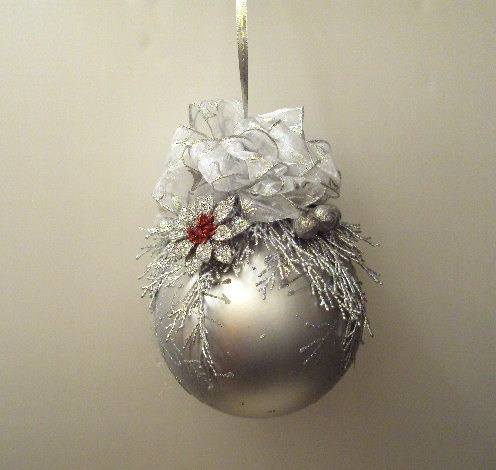 Christmas ball ornament 6 inch with silver trimmings with a touch of red ornament christmas Homemade christmas decorations nz
