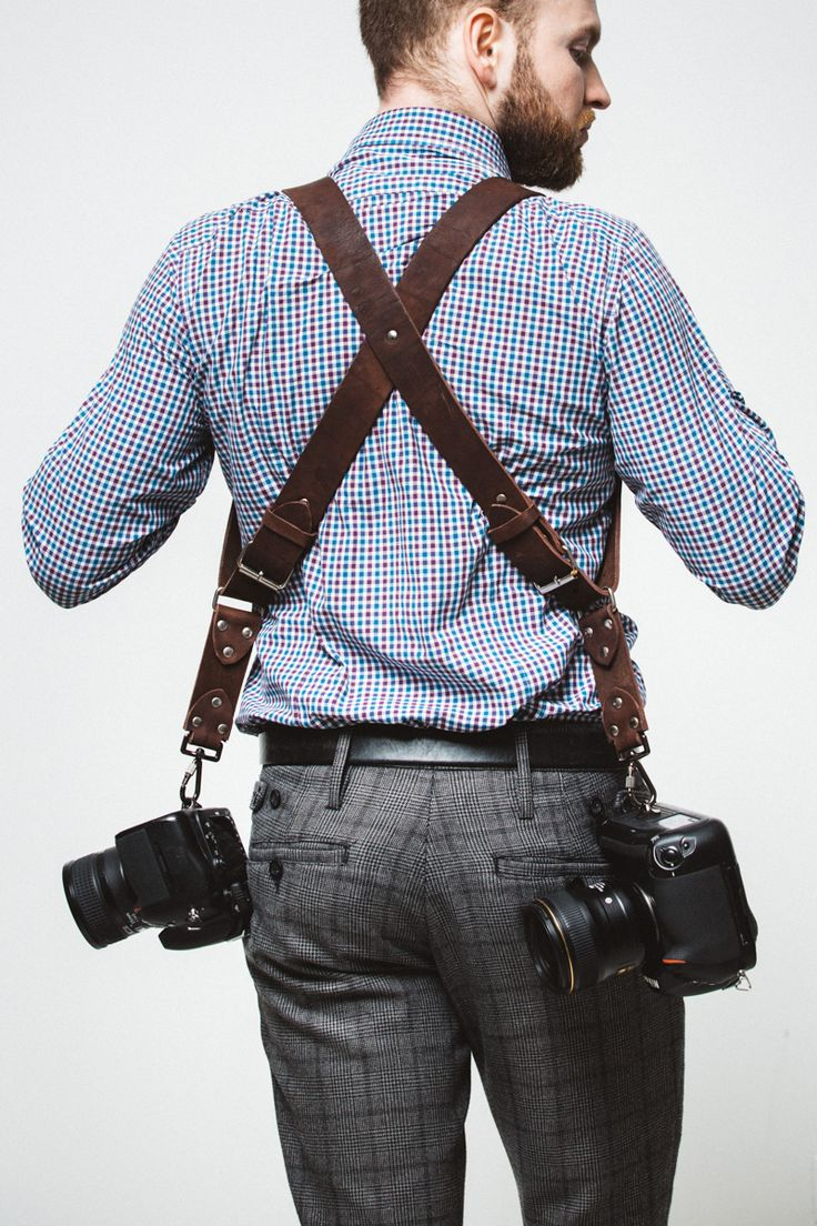 Разгрузка фотографа на две камеры, кожаные ремни на два фотоаппарата