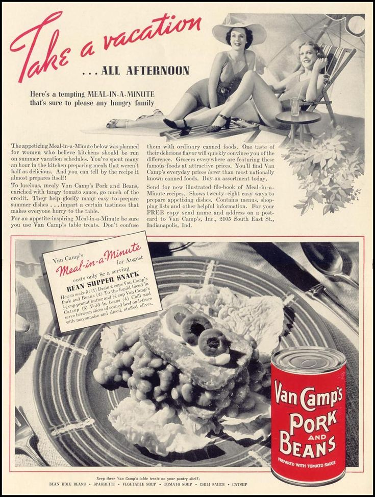 Pork & beans, catsup, and peanut butter. Did people actually eat this?