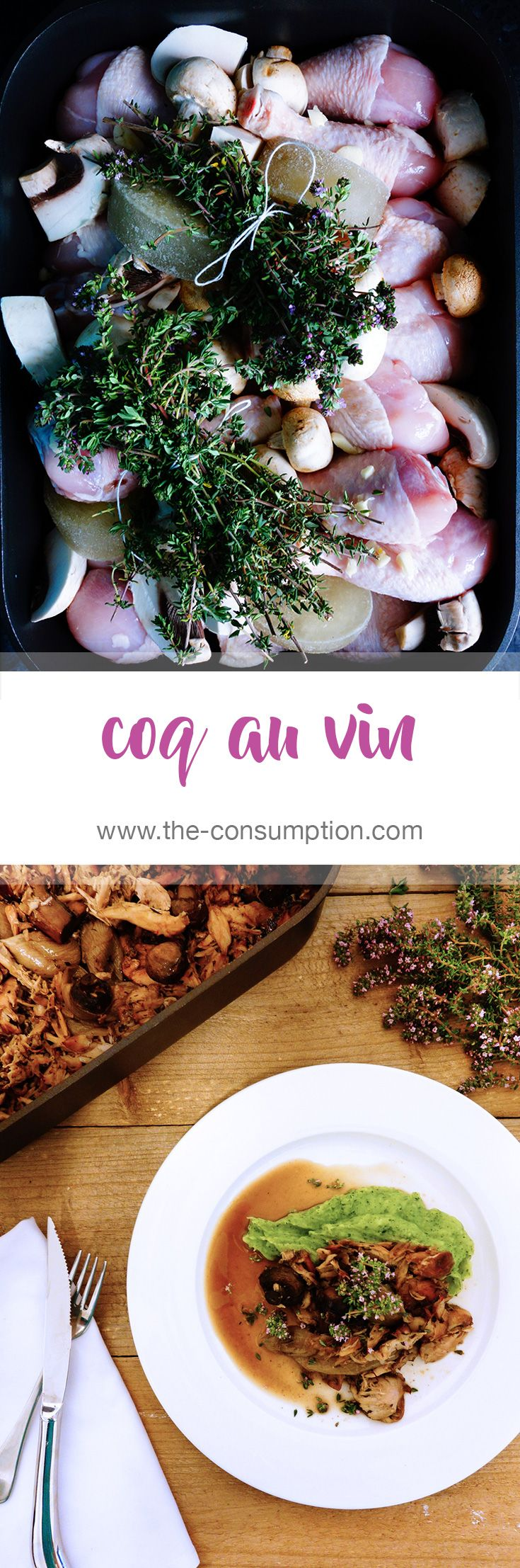 Beautiful chicken in red wine with bunches of fresh thyme.