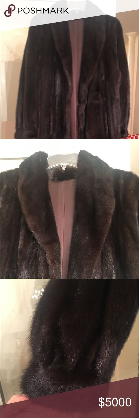 Gorgeous Genuine Full Length Mink Coat This is a genuine mink coat. it measures from shoulder to hem 51 inches. Sleeve length from shoulder to end of cuff 25 inches. Pit to pit 23 inches. Has a shawl collar and it fastens with Dasco closures down front of coat. It is a dark brown. Has two pockets and is s very warm and very elegant- beautiful coat! Dasco Jackets & Coats