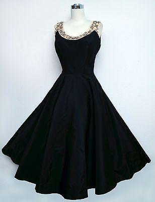Vintage 50s EMMA DOMB Black Taffeta Dress Pink Satin Pearls Beads Circle Skirt