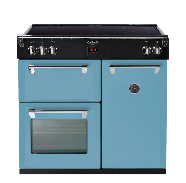The pastel light blue 90cm Induction Belling Range Cooker lets you pour in your style in your kitchen. The Day's Break features a multicavity multifunction electric oven, and either a 5 zone induction cooktop with slide controls or a cast iron gas top. Regardless of your choice of fuel, Belling kitchen appliances are proudly manufactured in the UK since 1912.