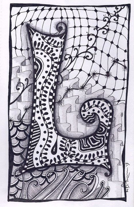Zentangle Letter L by ForeverTangles, £3.50