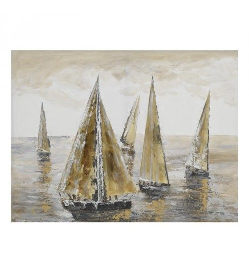 OIL WALL PAINTING CANVAS 'SAILING BOATS' IN GREY_CREME COLOR 120Χ4Χ90