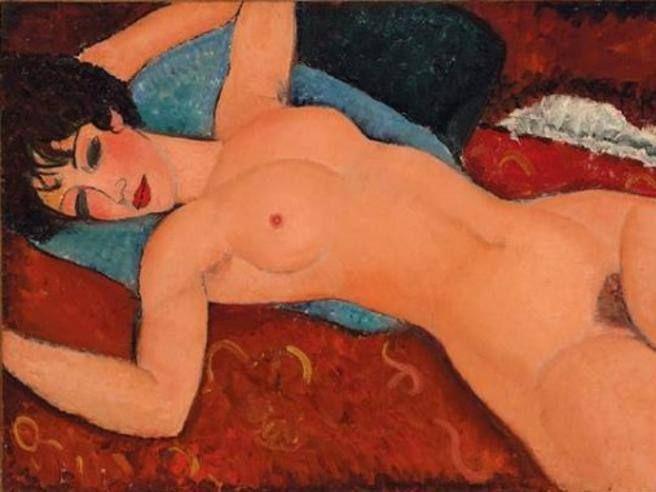 """Anedeo Modigliani (1884-1920) """"Nu couché (Nudo disteso a braccia aperte o Nudo Rosso)"""" ,  1917  , olio su tela  , 60x92 cm ; venduto  9-11-2015 a New York da Christie's per 170 Milioni $. L'opera fu esposta nella prima ed unica mostra personale di Modigliani – che comprendeva una trentina di dipinti, inclusi una serie di nudi - alla galleria Berthe Weill a Parigi ;  la modella è la stessa di un altro dipinto di Modigliani , la Donna con cravatta nera , 1917."""