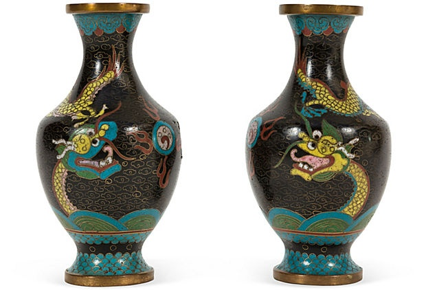 Antique Cloisonne Dragon Vases-Lara Spencer
