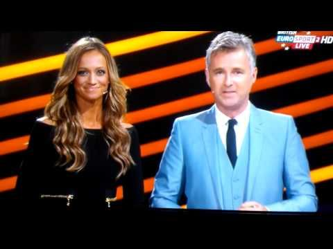Kate Abdo and  Darren Tulett very nice handling of those balls Europa Draw August 30th 2013 - http://maxblog.com/3662/kate-abdo-and-darren-tulett-very-nice-handling-of-those-balls-europa-draw-august-30th-2013/
