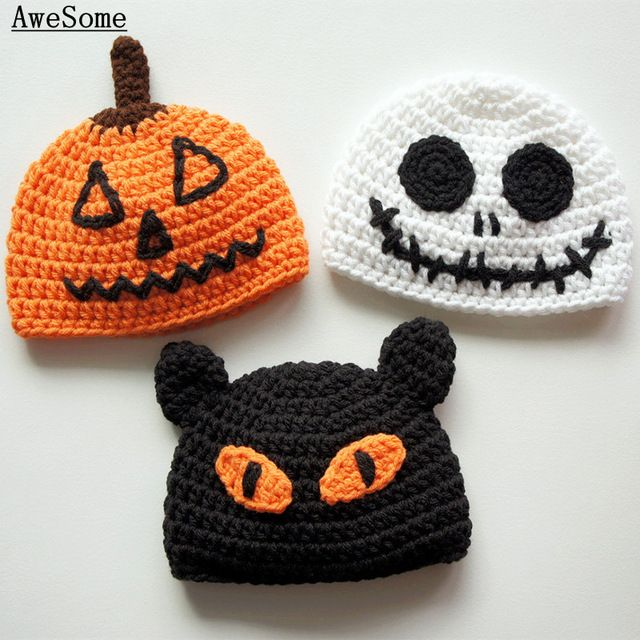 Handmade Knitted Crochet Baby Halloween Hats,Pumpkin Jack Lantern,Scary Black Cat,Skeleton Ghost Hat,Baby Boy Girl Photo prop