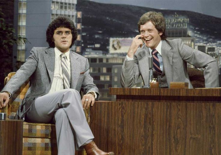 Jay Leno being a guest on the The Tonight Show when David Letterman was guest hosting for Johnny Carson on July 4 1979 | Rare and beautiful celebrity photos
