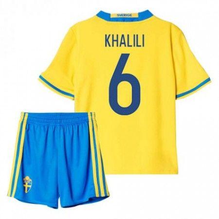 Sverige Trøje Børn 2016 #Khalili 6 Hjemmebanesæt Kort ærmer.199,62KR.shirtshopservice@gmail.com