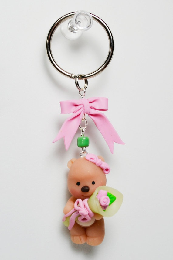 Teddy bear with bouquet of flowers key chain. by HandcraftedCuties, $7.00