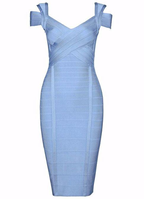 Dream it Wear it - Cut Out Shoulder Midi Bandage Dress Light Blue, $118.86 (http://www.dreamitwearit.com/cut-out-shoulder-midi-bandage-dress-light-blue/)