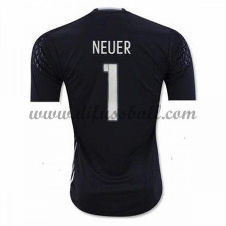 Nationaltrikot Deutschland 2016 Torwart Neuer 1 Kurzarm Heim Fußballtrikots