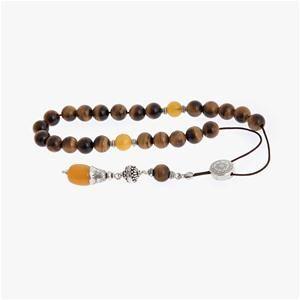 Tiger Eye & Amber Gemstones Worry Beads (Komboloi) Sterling Silver 925
