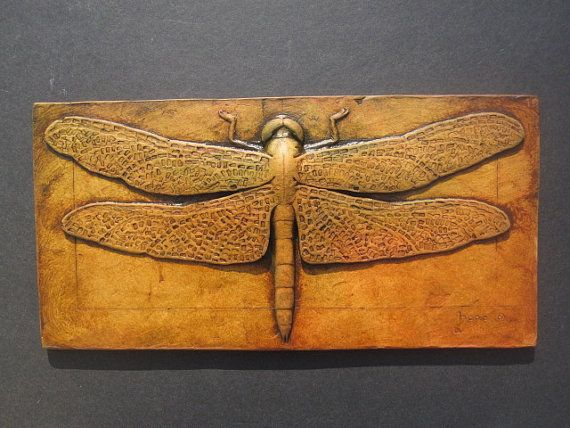 Dragonfly Art Deco Ancient Egyptian Style Sculpted Tile Wallsculpture