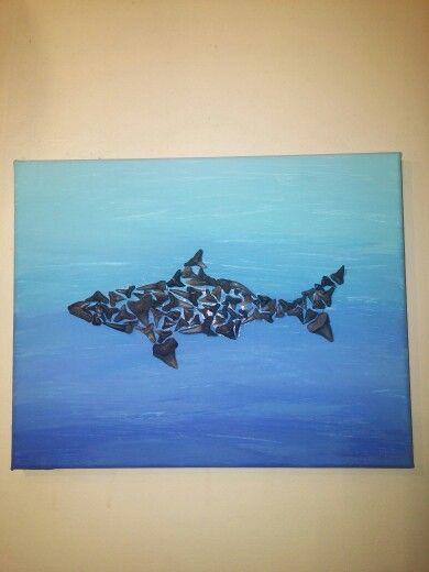 Shark on canvas made with sharks teeth found on Folly Beach!