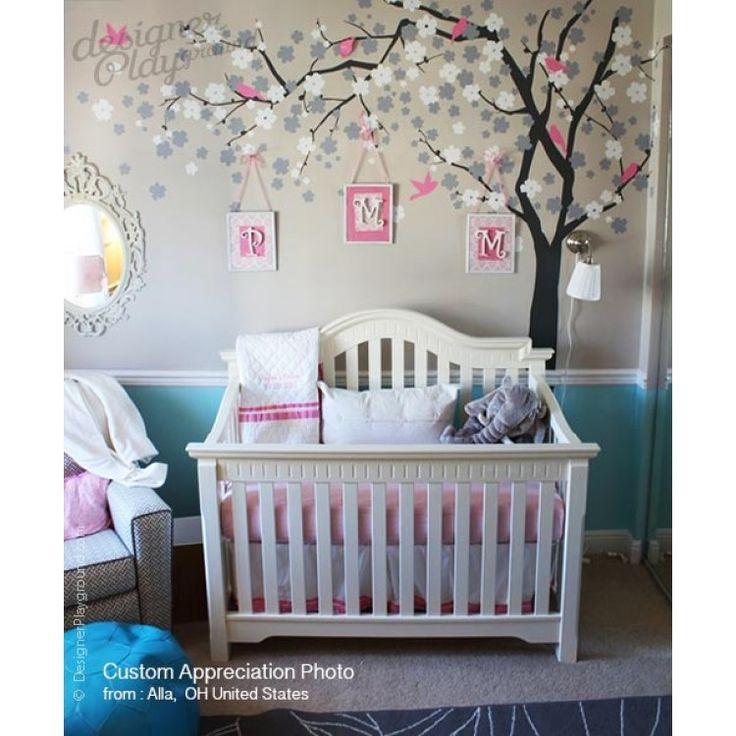 Flower blossom tree girls bedroom cuartos de bebe ni a - Decoracion de habitacion de bebe nina ...