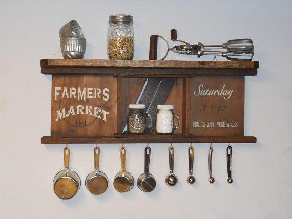 Unique Kitchen Shelf Sign Amp Measuring Cup Spoon Holder