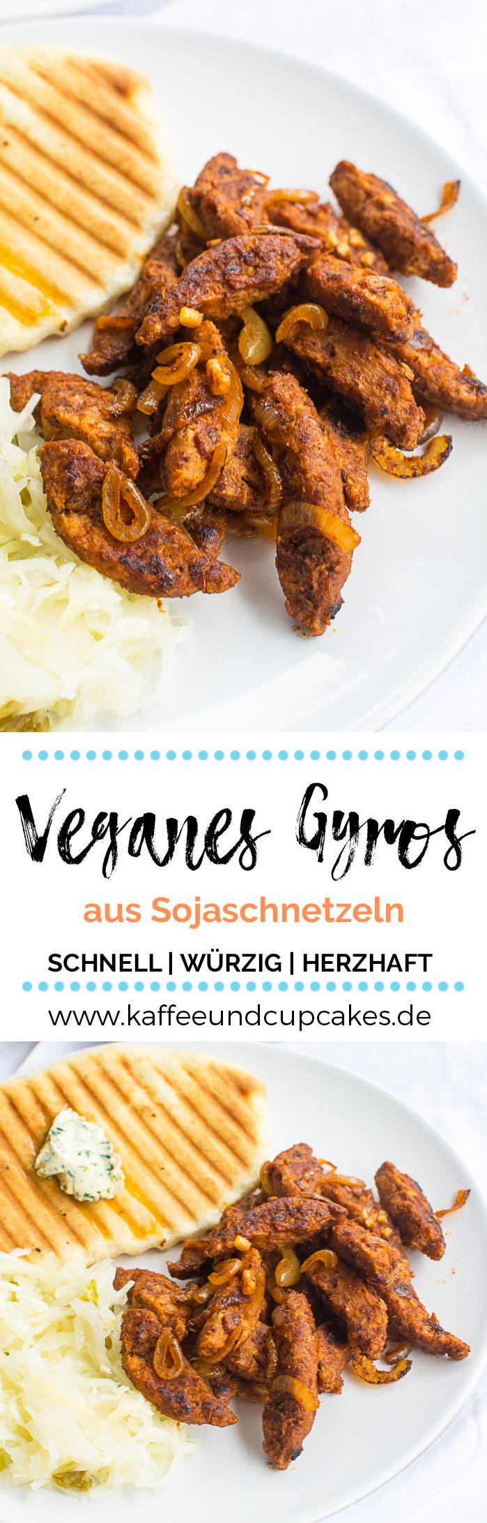 Veganes Gyros aus Sojaschnetzeln - schnell, einfach und super lecker!  #rezept #vegan #vegetarisch #sojaschnetzel #fleischersatz #gyros #griechisch #knoblauch #zwiebel #herzhaft #würzig #mittagessen #abendessen