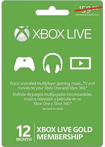 Xbox Live Gold Card 12 Month Membership Only $39.99!! - http://couponingforfreebies.com/xbox-live-gold-card-12-month-membership-39-99/