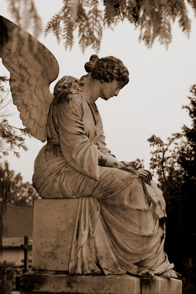 ☫ Angelic ☫ winged cemetery angels and zen statuary - profile