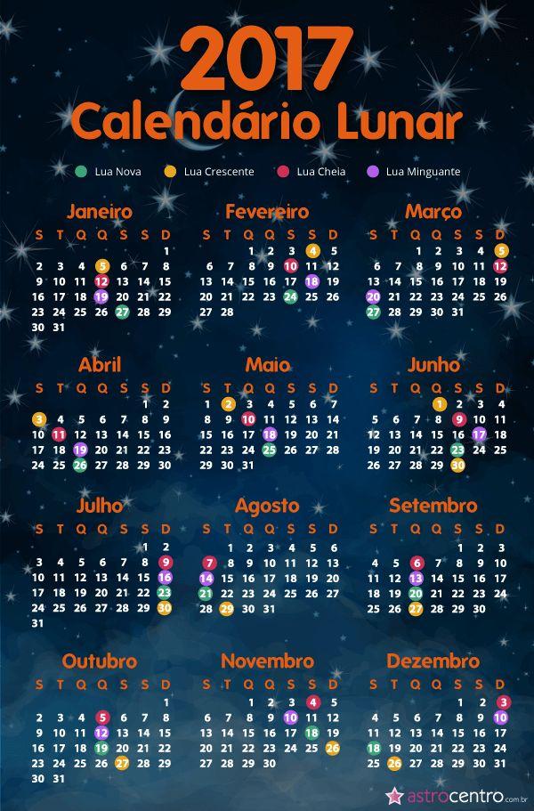Calendário Lunar 2017 com fases da lua