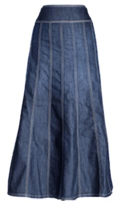 Long Paneled Jean Skirt