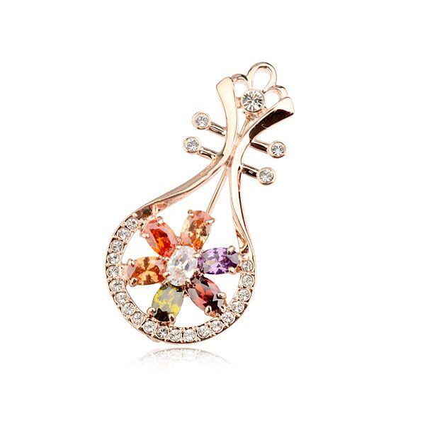Китайская культура подарок мода циркон лютни дизайн брошь, роскошные циркон зубец установка брошь pin