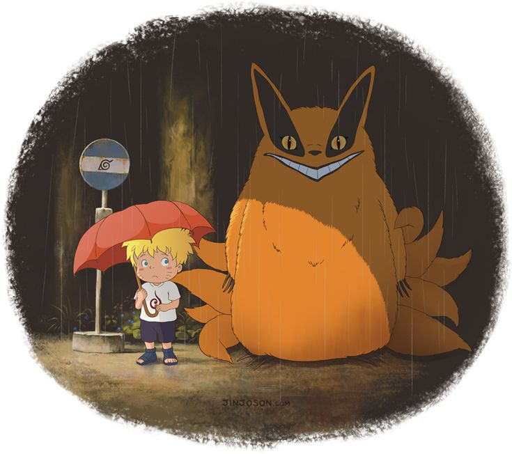 Naruto crossover with My Neighbor Totoro. This has me laughing so hard right now.