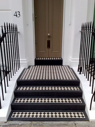 Steps with black and white Victorian style tiles http://www.englishcitystone.co.uk/york-stone-masonry