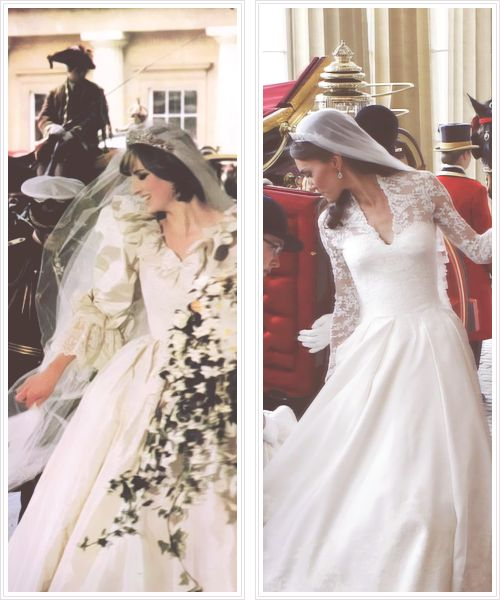 Lovely Princess Diana: Side-by-side-Princess of Wales and Duchess of Cambridge on their respective wedding days