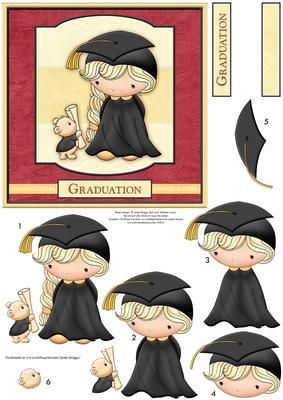 GRADUATION IZZY Card Topper Decoupage on Craftsuprint designed by Janet Briggs - Graduation card topper and decoupage, for female graduate on passing exams / course / degree etc.Features cute Izzy receiving her diploma from bear. Suitable for a 6x6 card, or larger.Several sentiment tags, including one blank. The other reads,GraduationA blank coordinating insert is available, see multilink below. - Now available for download!