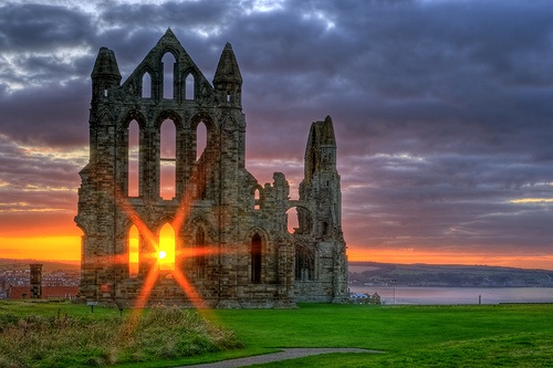 """Whitby Abbey, England..Whitby Abbey was the setting for Carfax Abbey in Bram Stokers novel """"Dracula""""...I think this a place Lorraine and i are going to visit sometime...plenty of seaside cottages for rent..and the village is a small seaport....."""