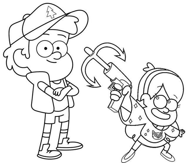 - Dipper And Mabel Holding On A Grappling Hook Themed Gravity Falls Coloring  Page Fall Coloring Pages, Disney Coloring Pages, Coloring Books