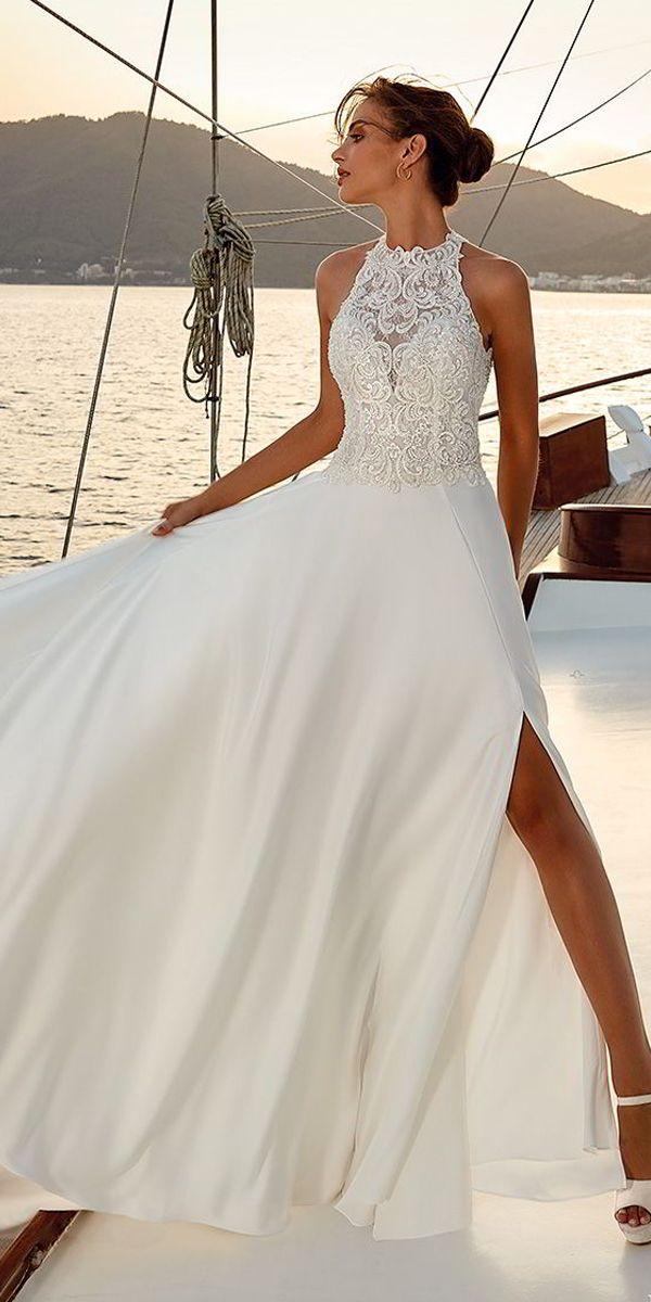Wonderful Tulle Chiffon Halter Neckline A Line Wedding Dress With